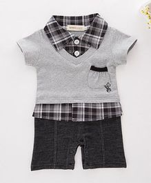 Dells World Checkered Romper With Pouch Pocket - White & Grey