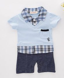 Dells World Checkered Romper With Pouch Pocket - Blue & White