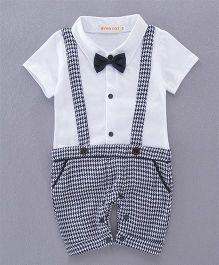 Dells World Gallis Attached Suspender Checkered Romper With Bow - Black & White