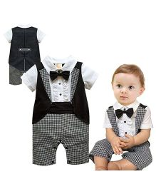 Pre Order - Dells World Checkered Romper With Jacket & Bow - Black & White