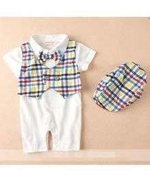 Pre Order - Dells World Checkered Jacket Attached Romper With Bow & Cap - Multicolour