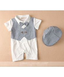 Pre Order - Dells World Stripe Jacket Attached Romper With Bow & Cap - Black & White
