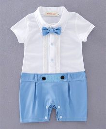 Pre Order - Dells World Frill Attached Romper With Bow - Blue & White