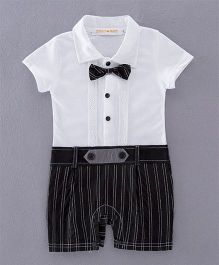 Pre Order - Dells World Frill Attached Stripe Romper With Bow - Black & White