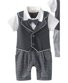 Pre Order - Dells World Jacket Attached Romper With Printed Bow - Grey & White