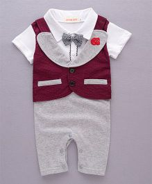 Pre Order - Dells World Rose Embroidery Romper With Attached Jacket & Bow - Red White & Grey