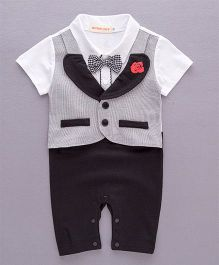 Pre Order - Dells World Rose Embroidery Romper With Attached Jacket & Bow - Grey Black & White
