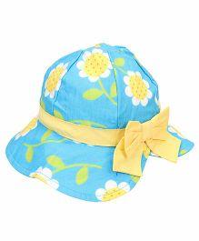 Little Wonder Flower Print Cap - Blue & Yellow
