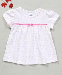 YiYi Garden Dot Print Top With Bow Design - White
