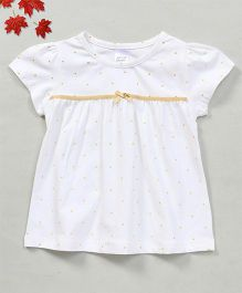YiYi Garden Dot Print Top With Bow Design - White & Yellow
