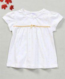 YiYi Garden Dot Print Top With Bow Design - White & Yellow