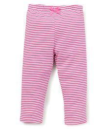Yiyi Garden Stripes Print Leggings - White & Pink