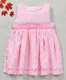 YiYi Garden Flower Design Dress With Front Bow - Pink