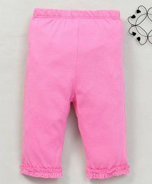 Yiyi Garden 3/4th Leggings With Frills At The Bottom - Pink