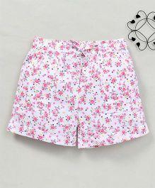 Yiyi Garden Flower Print Shorts - White & Pink