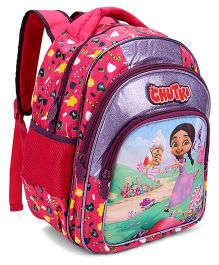 Chutki Printed School Bag Pink And Purple - 14 Inch