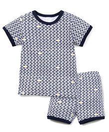 Yiyi Garden Fish Print Tee & Shorts Set - White & Navy Blue