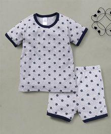 Yiyi Garden Helmet Print Tee & Shorts Set - Grey