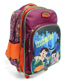 Chhota Bheem Trolley School Bag Purple & Teal Blue - 16 inches
