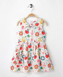 Babyhug Sleeveless Frock Anchor & Fish Print - Off White
