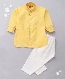 Ethnik's Neu Ron Kurta Pyjama Set - Yellow White