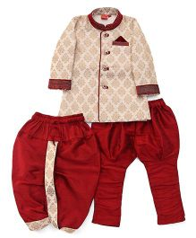 Ethnik's Neu Ron Kurta Pajama Set With Dhoti - Light Maroon & Cream