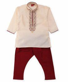 Ethnik's Neu Ron Kurta Pyjama Set - Beige Maroon