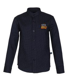 Bells and Whistles Polka Dotted Chinese Collar Shirt - Navy