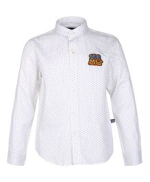 Bells and Whistles Polka Dotted Chinese Collar Shirt - White
