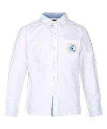 Bells and Whistles Full Sleeves Plain Shirt - White