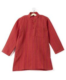 Pikaboo Full Sleeves Stripes Kurta - Red