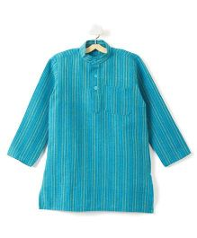 Pikaboo Full Sleeves Stripes Kurta - Teal Blue