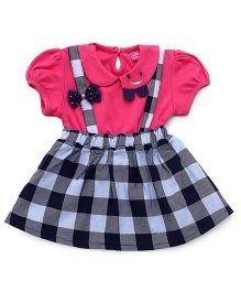 Wow Girl Short Sleeves Frock Bow & Checks Print - Pink