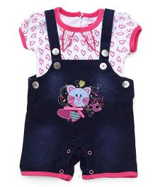Wow Girl Dungarees & Bodysuits White and Pink 3-6 mth