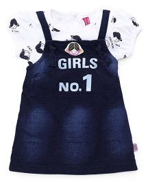 Wow Girl Frock With Inner Top - White & Blue