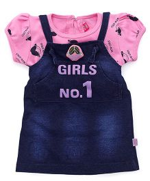 Wow Girl Frock With Inner Top - Pink & Blue