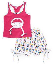 Wow Girl Sleeveless Top & Printed Shorts - Pink