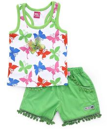 Wow Girl Sleeveless Top &  Shorts Butterfly Print - Green
