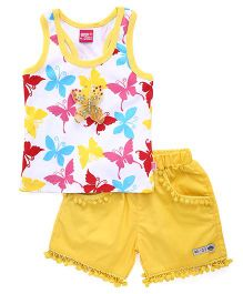 Wow Girl Sleeveless Top &  Shorts Butterfly Print - Yellow