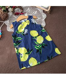 Pre Order - Awabox Lemon Print Dress - Navy Blue