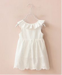 Pre Order - Awabox Frill Dress With Back Bow - White