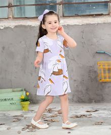 Pre Order - Awabox Duck Print Dress - Pastel Blue