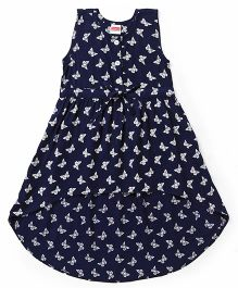 Babyhug Sleeveless Asymmetrical Frock Butterfly Print - Navy Blue