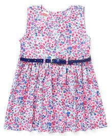Babyhug Sleeveless Frock With Belt Floral Print - Multicolour