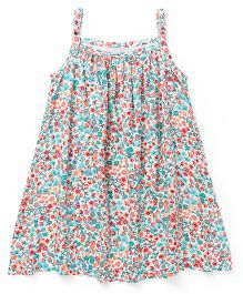 Babyhug Singlet Frock Floral Print - Multicolour