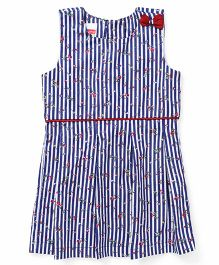 Babyhug Sleeveless Stripe Frock Bow Applique - Blue White