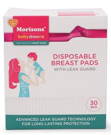 Morisons Baby Dreams Disposable Breast Pads With Leak Guard - 30 Pieces