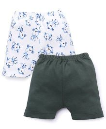 Ben Benny Shorts Animal Print And Plain Pack Of 2 - Grey White