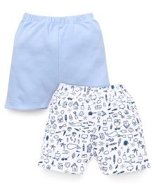 Ben Benny Shorts Printed And Plain Pack Of 2 - Blue White