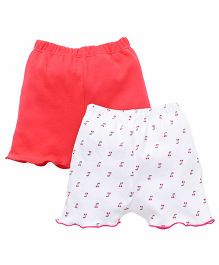 Ben Benny Solid Color And Printed Shorts Pack Of 2 - Peach White